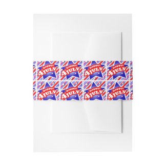 Happy 4th of July Theme Pattern Invitation Belly Band