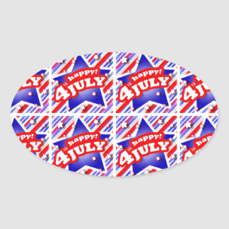 Happy 4th of July Theme Pattern Oval Sticker