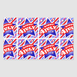 Happy 4th of July Theme Pattern Rectangular Sticker