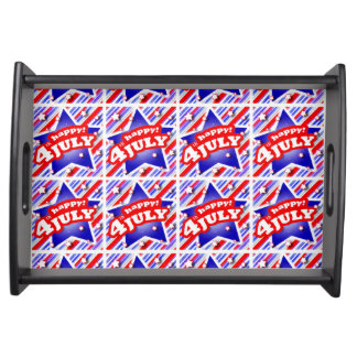 Happy 4th of July Theme Pattern Serving Tray