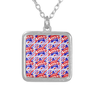 Happy 4th of July Theme Pattern Silver Plated Necklace