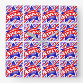 Happy 4th of July Theme Pattern Square Wall Clock