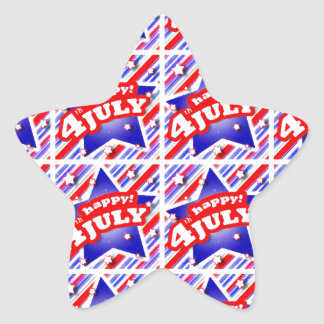 Happy 4th of July Theme Pattern Star Sticker