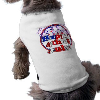 Happy 4th of July with Fireworks Sleeveless Dog Shirt