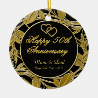 Happy 50th Anniversary Golden Leaves DBL Sided Ceramic Ornament