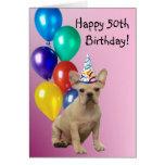 Happy 50th Birthday French Bulldog Cards