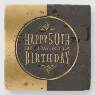 Happy 50th Birthday-Geometric Black & Gold Stone Coaster