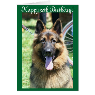 Happy 50th Birthday German Shepherd greeting card