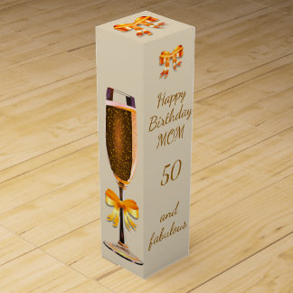 Happy 50th Birthday Mom Wine Box