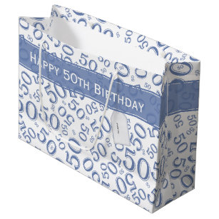 Happy 50th Birthday Party Pattern Blue And White Large Gift Bag
