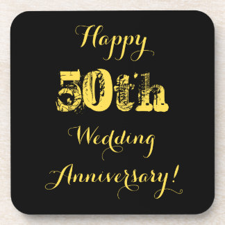 Happy 50th Wedding Anniversary Beverage Coaster