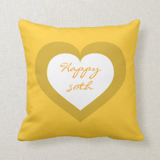 Happy 50th white and gold heart cushion