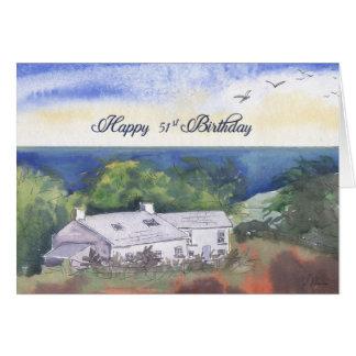 Happy 51st Birthday card, Pembrokeshire farmhouse Card
