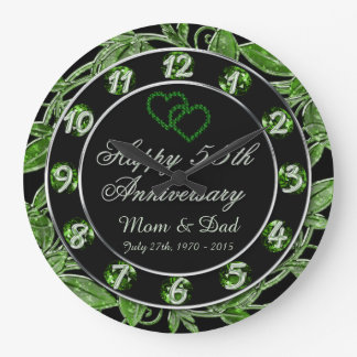 Happy 55th Anniversary Emerald Leaf Numbers Large Clock