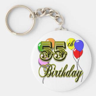 Happy 55th Birthday Celebration Basic Round Button Key Ring
