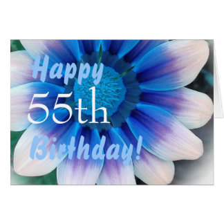 HAPPY 55th  BIRTHDAY  with Magic Blue Flower Card