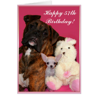 Happy 57th Birthday Boxer and Chihuahua card
