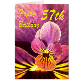 Happy 57th Birthday Flower Pansy Greeting Card