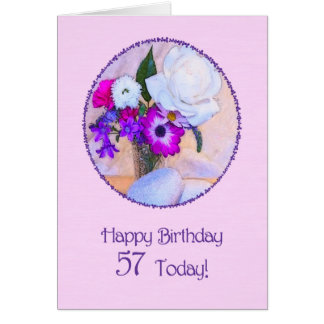 Happy 57th birthday with a flower painting greeting card