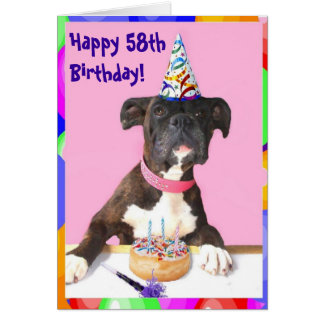 Happy 58th Birthday Boxer greeting card