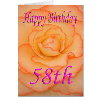 Happy 58th Birthday Flower Card