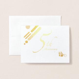 Happy 5th Anniversary Mod Birds Foil Card