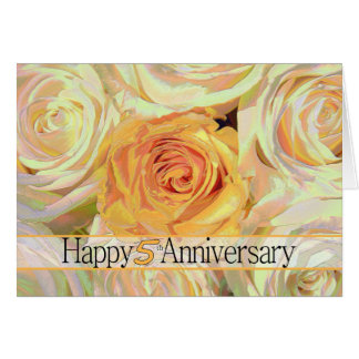 Happy 5th Anniversary roses Card