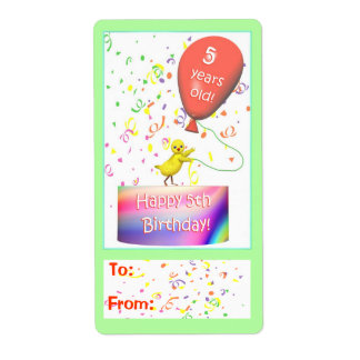 Happy 5th Birthday Chicken Gift Tag Shipping Label