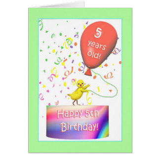 Happy 5th Birthday Chicken Greeting Card
