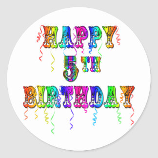 Happy 5th Birthday Gifts - Circus Font Classic Round Sticker