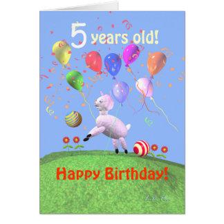 Happy 5th Birthday Lamb and Balloons Greeting Card