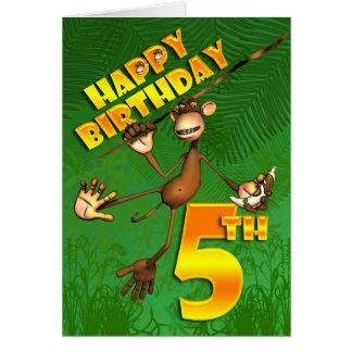 Happy 5th Birthday Monkey Banana Card
