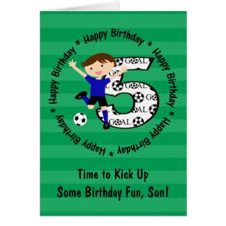 Happy 5th Birthday Round Soccer Goal Card