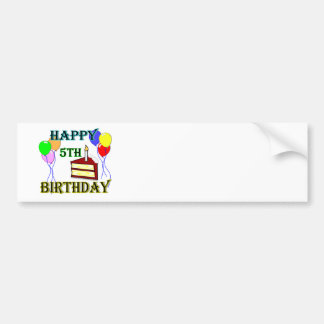 Happy 5th Birthday with Cake, Balloons and Candle Bumper Sticker