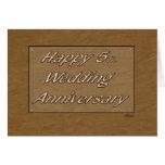 Happy 5th. Wedding Anniversary Wood Greeting Card