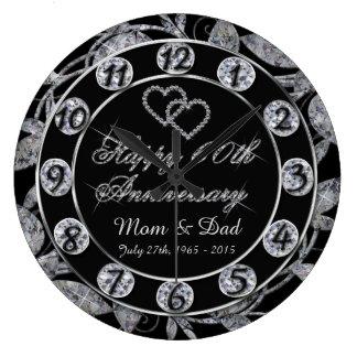 Happy 60th Anniversary Diamond Leaf Numbers Large Clock