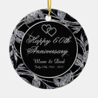 Happy 60th Anniversary Diamond Leaves DBL Sided Ceramic Ornament