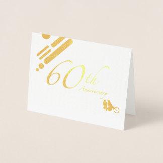 Happy 60th Anniversary Mod Birds Foil Card