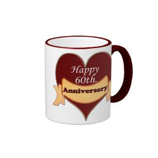 Happy 60th. Anniversary Coffee Mugs