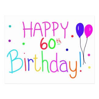 Happy 60th Birthday Balloons Postcard