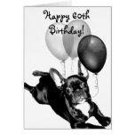 Happy 60th Birthday French Bulldog greeting card