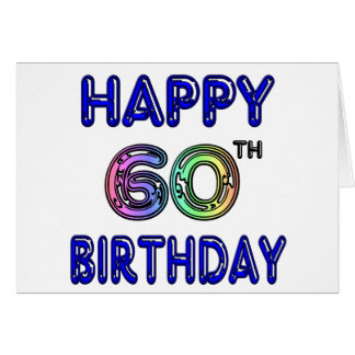 Happy 60th Birthday Gifts in Balloon Font Greeting Card