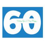 Happy 60th Birthday Milestone Postcards - in Blue