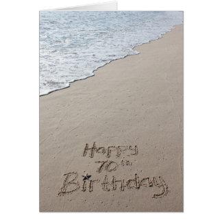 Happy 70th Birthday Card Beach Sand