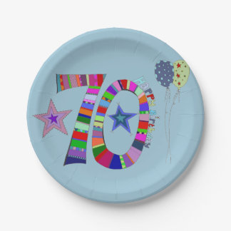 Happy 70th Birthday Colorful Balloons Paper Plate