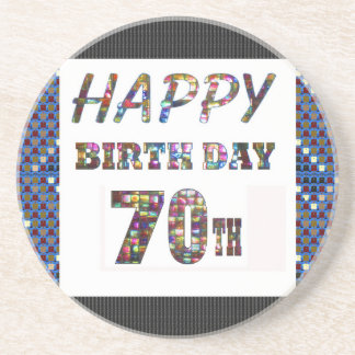 Happy 70th Birthday Drink Coasters