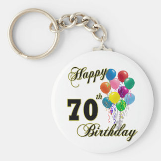 Happy 70th Birthday Gifts and Birthday Apparel Basic Round Button Key Ring
