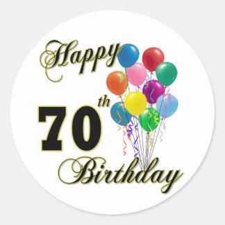 Happy 70th Birthday Gifts and Birthday Apparel Round Sticker