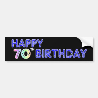 Happy 70th Birthday Gifts in Balloon Font Bumper Sticker