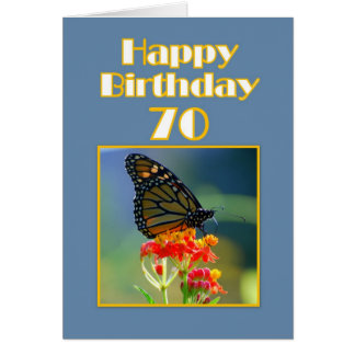 Happy 70th Birthday Monarch Butterfly Greeting Cards